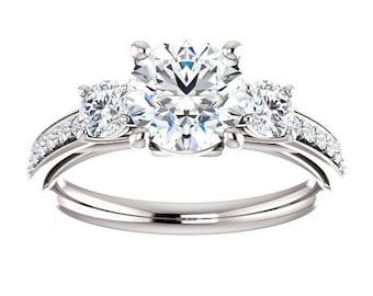 14K White Gold 3 Stone 6.5mm Round Forever One Moissanite Engagement Ring - Petite Ring - Affordable Ring