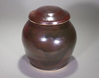 Rustic Brown Wheel Thrown Ceramic Ginger Jar