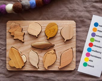 Wood Puzzle Toy For Toddler, Wooden Toy Leaf Puzzle, Wood Toy Leaf Puzzle, Baby Boy Gift, Baby Girl Gift