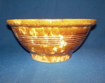 "Antique Large Rustic Stoneware Bowl, Crockery, 10 1/2"""