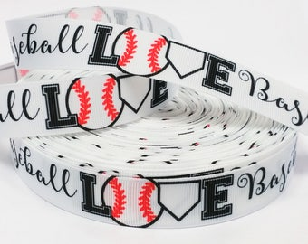 "7/8"" inch LOVE Baseball on White -  Balls Sports Soft Ball Printed Grosgrain Ribbon for Hair Bow"