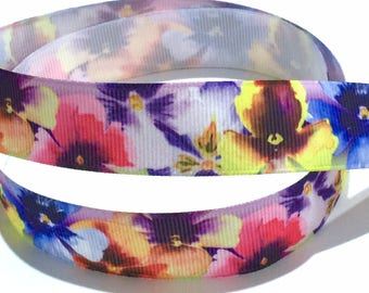 7/8 inch Fancy Flower Floral Printed Grosgrain Ribbon for Hair Bow Colorful
