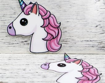 1 PIECE - Resin Unicorn Approx 3 inch X 2.5 inch Flatback Flat Back Resin Accent for Hair Bow