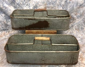 2 Galvanized Metal Tray With Handles, Tool Box Tray, Metal Tool Caddy, Tool Carrier, Metal Storage Tray, Rustic Metal Planter, Tool Tote