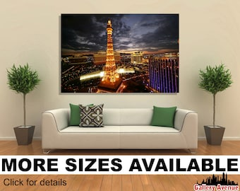 Wall Art Giclee Canvas Picture Print Gallery Wrap Ready to Hang Las Vegas High View Night M004 60x40 48x32 36x24 24x16 18x12 3.2