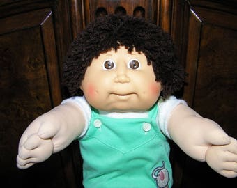 Vintage Cabbage Patch Kid Doll #10 HM~ Brown Shag/Brown Eyes