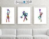 Girl Basketball Art,Girl Basketball Poster, Set of 3 Girl Basketball Watercolor, Girl Basketball Wall Art, Printable, Girl Basket ball party