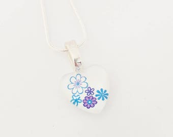 Flower necklace - Glass 20mm - hand painted - Flowers jewelry