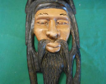 Rastafarian Carved Wood Wall Plaque #2