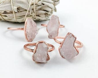 ON SALE Raw Rose Quartz Ring | Metaphysical Jewelry |  Electroformed Jewelry | Rose Quartz and Copper Ring | Crystal Healing