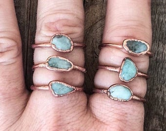 ON SALE Amazonite Ring | Stone Ring | Electroformed Jewelry | Green Ring | Electroform Ring | Amazonite & Copper Ring | Crystal Ring