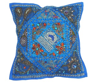 Blue Indian Sari Decorative Throw Pillow Cover - Beaded Bollywood Couch Sofa Accent Embellished Cushion 16 Inch x 16 Inch - NH17180