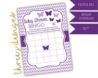 Butterfly Baby Shower BINGO Game - INSTANT DOWNLOAD - Plum and Lavender - Digital File - J004