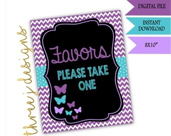 Butterfly Baby Shower Favor Table Sign - INSTANT DOWNLOAD - Purple and Teal - Digital File - J001