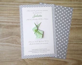 Invitation for baptism or birth origami rabbit - Green - made hand - craft