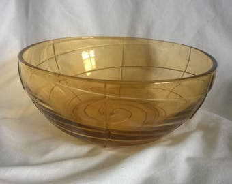 Amber Glass Fruit Bowl has a Swirly Pattern