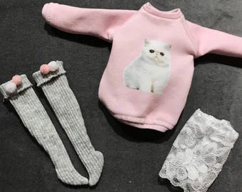 Happy Pet-lounge set for Blythe, licca & pure neemo, cat sweater, long socks