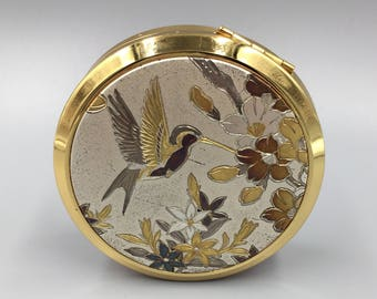 Chokin Art Hummingbird and Flowers Lovely Powder Compact - Vintage 1970s Round Engine Turned with Mirror Powder Screen and Puff