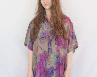 Blouse Vintage 1980s Purple Abstract Print Short Sleeve