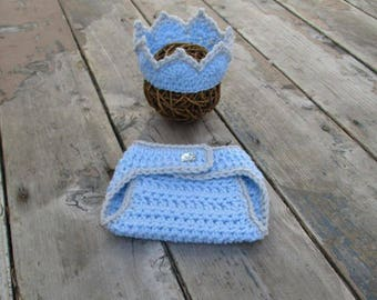 Newborn Crown And Diaper Cover Baby Boy Crown Newborn Crochet Crown Crochet Newborn Outfit Newborn Boy Crown Newborn Boy Photo Outfit