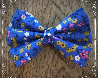 Blue Floral Fabric Hair Bow