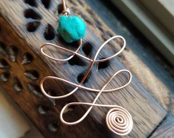 Copper and Turquoise Unalome Necklace for Enhanced Empathy and Connection