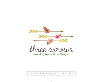Logo Design-Small Business Logo-Photography Logo-Arrow Logo-Flower Logo-Branding Package-Elegant Logo-FREE font change