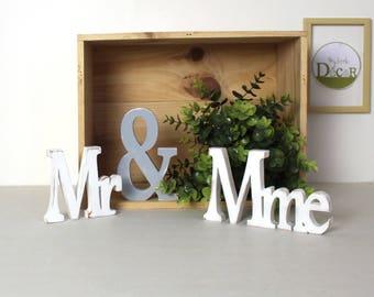 mr & mme  en bois blanc et gris patiné-mariage-décoration- mylittledecor