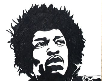 Jimi Hendrix hand-drawn drawing / painting
