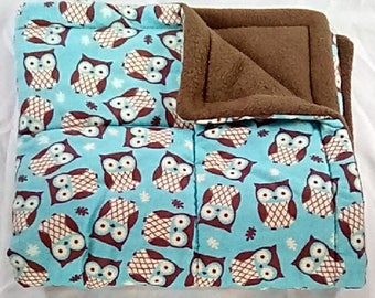 "FREE SHIPPING 25"" x 25"" plush Pet Blanket, owl dog blanket, cat blanket"