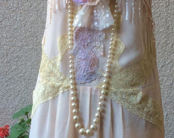 Gentle dreams- Dress Romantic Shabby Chic Bohemian Upcycled Sz M
