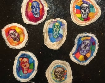hand embroidered skull patches