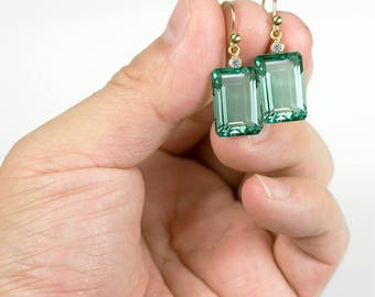 18K Solid Gold Green Prasiolite Earrings with Diamonds, Prasiolite Earrings with Diamonds, 18K Diamond Earrings, Bridal Earrings, Prasiolite