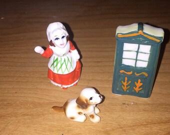 Miniature Bone China Nursery Rhyme Set OLD MOTHER HUBARD