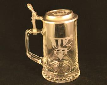 Vintage Winston Etched Glass Beer Stein Mug With Pewter Lid