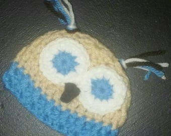 Owl Micro Preemie Hat, Boy Preemie Hat, Preemie Boy Clothes, Knit Hat, Baby Shower Gift, NICU Preemie Hat, Baby Boy Hat, Baby Owl Hat