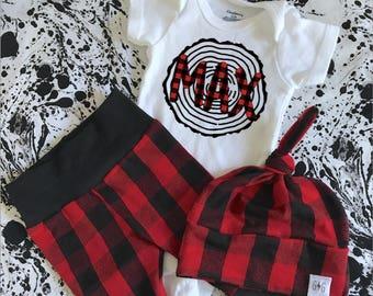Lumberjack Birthday Outfit, Baby Boy Name Outfit, Baby Boy Set, Lumberjack Baby Set, Buffalo Plaid, Knot Hat, Baby Knot Hat, Baby Leggings