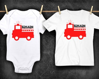 Personalized Name Fire Truck Newborn Baby Toddler Bodysuit Shirt Top Baby Shower Birthday Gift Idea Fireman Fire Fighter Boy