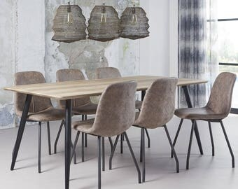 Large Dining Table. Steel Legged with wooden top.  W:190cm.