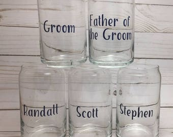 Personalized Beer Can Glasses | Groomsmen Gifts | Bachelor Party Gifts | Glass Mug | Beer Can Mug | Groomsmen Proposal Glasses