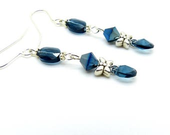 Blue grey Swarovski Crystal butterfly earrings
