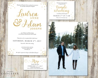 Elegant Gold LDS Wedding Invitation Package   Simple Gold Confetti Wedding Invite with Photo   RSVP Temple Ceremony    Digital Printable