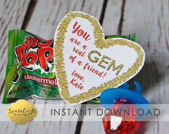 Valentine Printable - You are a REAL GEM of a FRIEND! - Instant Download -  Ring Pop Valentine Printable