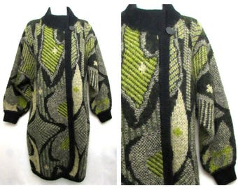 vintage geometric abstract mohair cardigan sweater coat artsy black olive green wool 3/4 length lagenlook art to wear kim carbocci PLUS SIZE