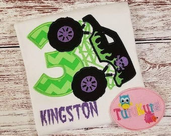 Monster Truck with Skull Birthday shirt with free Personalization