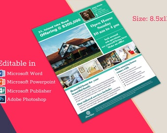 Real Estate Advertising Flyer Open House Template - Editable in Microsoft Word, Publisher, Powerpoint, Photoshop INSTANT DOWNLOAD KOR-025A