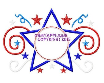 Monogram Initial Star Spangled Patriotic Design Embroidery Applique Design Instant Download Digital File
