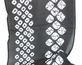 Vintage Japanese Shear Obi Scarf with White Shibori Pattern