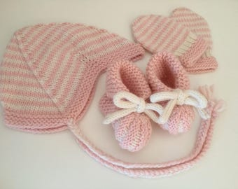 Newborn Pink Hat, Booties and Mittens Gift Set