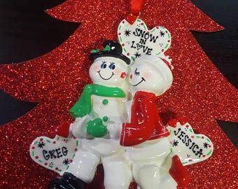 Snow in love/ Personalized snowman couple ornament/ Personalized Ornament/ Our First Christmas